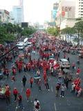 曼谷/泰国- 04 05 2010年:红色衬衣抗议反对政府在Ratchaprasong 免版税库存照片