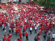 曼谷/泰国- 04 05 2010年:红色衬衣抗议反对政府在Ratchaprasong 库存照片