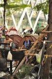 曼谷/泰国- 01 26 2014年:`停工曼谷`操作的人块Ratchaprasong 免版税库存照片