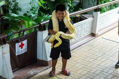 曼谷/泰国- 2018年5月11日:孩子有蛇展示的和显示对游人在Serpentarium,泰国红十字会社会 免版税库存图片