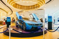 曼谷-泰国2018年1月13日:BMW i8在国王力量d的车展 免版税库存照片