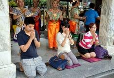 曼谷erawan祈祷的寺庙泰国 库存照片