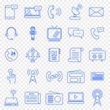 替代项上色通信图标包括的集 25个传染媒介象包装 库存例证