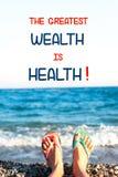 最了不起的财富是健康 诱导激动人心的行情 免版税库存照片