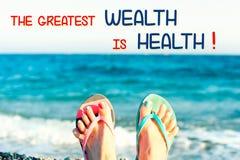 最了不起的财富是健康 诱导激动人心的行情 库存图片