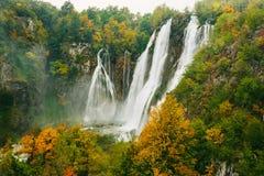 最伟大的瀑布在Plitvice国家公园,克罗地亚 免版税库存照片
