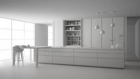 最低纲领派厨房、海岛、桌、凳子和开放内阁有辅助部件的,窗口,竹子总白色项目草稿, 向量例证