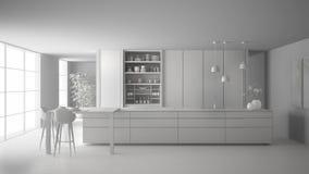 最低纲领派厨房、海岛、桌、凳子和开放内阁有辅助部件的,窗口,竹子总白色项目草稿, 库存例证