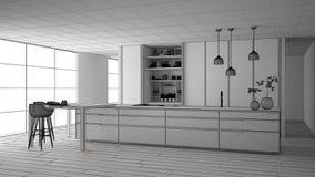 最低纲领派厨房、海岛、桌、凳子和开放内阁有辅助部件的,窗口,竹子未完成的项目,水耕 库存例证