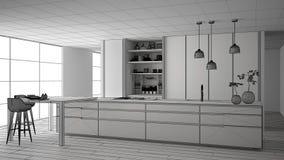 最低纲领派厨房、海岛、桌、凳子和开放内阁有辅助部件的,窗口,竹子未完成的项目,水耕 皇族释放例证