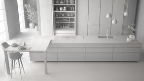 最低纲领派厨房、海岛、桌、凳子和开放内阁有辅助部件的,窗口,竹子,木条地板总白色项目草稿  库存例证