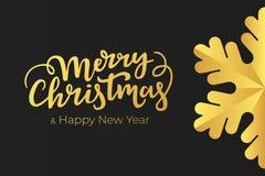 最低纲领派圣诞节和新年与手字法愿望和金箔的豪华装饰的卡片设计在黑优质pap的 皇族释放例证