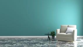 最低纲领派室内设计、浅灰色的沙发有灯的在薄荷的墙壁和硬木地板,3d回报 向量例证