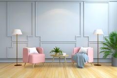 最低纲领派室室内设计、当代家具、桃红色扶手椅子和白色灯在木地板和白色墙壁/3d回报 向量例证