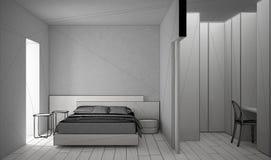 最低纲领派现代白色和木卧室未完成的项目有可容人走进去的大壁橱的,镶花地板,双人床,床头柜 向量例证