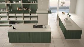 最低纲领派豪华昂贵的白色和绿色木厨房、海岛、水槽和气体滚刀,露天场所,大理石陶瓷地板,内部 库存例证