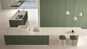 最低纲领派豪华昂贵的白色和绿色木厨房、海岛、水槽和气体滚刀,露天场所,大理石陶瓷地板,内部 向量例证