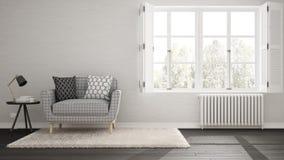 最低纲领派客厅,简单的白色和灰色生活与大wi 库存例证