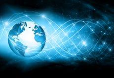 最佳的企业概念全球互联网 地球,在技术背景的发光的线 电子, Wi-Fi,光芒 免版税库存图片