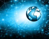 最佳的企业概念全球互联网 地球,在技术背景的发光的线 wi fi,光芒