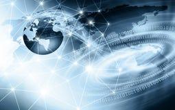 最佳的企业概念全球互联网 地球,在技术背景的发光的线 Wi-Fi,光芒,标志 库存照片