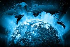 最佳的企业概念概念全球地球发光的现有量互联网系列 美国航空航天局装备的这个图象的元素 图库摄影