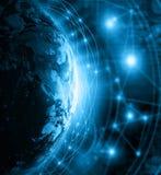 最佳的企业概念概念全球地球发光的现有量互联网系列 美国航空航天局装备的这个图象的元素 库存照片