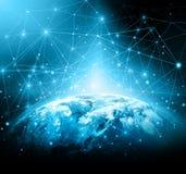 最佳的企业概念概念全球地球发光的现有量互联网系列 美国航空航天局装备的这个图象的元素 库存图片