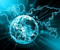 最佳的企业概念概念全球地球发光的现有量互联网系列 美国航空航天局装备的这个图象的元素 免版税库存照片