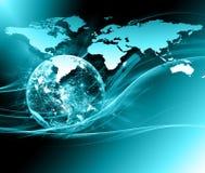 最佳的企业概念概念全球地球发光的现有量互联网系列 美国航空航天局装备的这个图象的元素 免版税库存图片