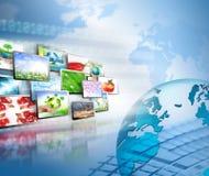 最佳的企业概念概念全球地球发光的现有量互联网系列 免版税库存图片
