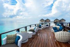 最佳的包括所有的马尔代夫水别墅手段在马尔代夫 库存图片