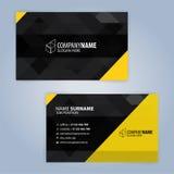 最佳的名片原来的打印准备好的模板向量 黄色和黑色 免版税库存照片