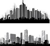 最佳的城市集合剪影向量 库存图片