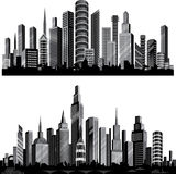 最佳的城市集合剪影向量 免版税库存图片