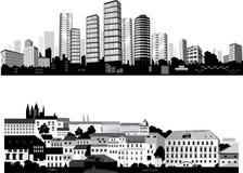 最佳的城市集合剪影向量 图库摄影