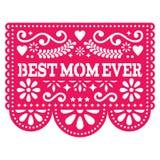 最佳的妈妈传染媒介贺卡,愉快的母亲` s天墨西哥设计-在桃红色的Papel Picado装饰 库存图片