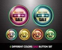 最佳的按钮五颜六色的价格销售额集 库存照片