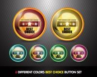 最佳的按钮挑选五颜六色的集 库存图片