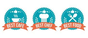 最佳的挑选徽章食物元素集 免版税库存图片