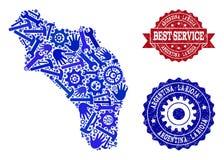 最佳的服务结构的阿根廷-拉里奥哈和被抓的邮票地图  库存例证