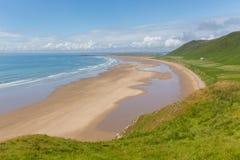最佳的海滩的Gower威尔士罗西里一在英国 免版税库存照片