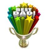 最佳的爸爸得奖的奖战利品上面父亲育儿技能 免版税库存图片