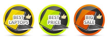 最佳的膝上型计算机 最佳的价格 大销售额 适应图标 皇族释放例证