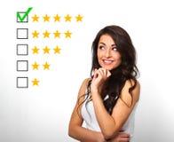 最佳的规定值,评估,网上rewiew 事务确信的h 库存照片