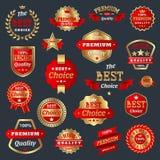 最佳的选择和优质合格品徽章保证标志标记最佳的标志奖牌汇集证明保单 库存照片