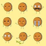 最佳的逗人喜爱的曲奇饼Emoji 库存照片