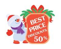 最佳的价格打折50与销售海报的雪人 免版税库存照片