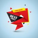 最佳的价格泡影横幅- origami样式设计 免版税库存照片