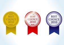 最佳的choise 2010证书奖牌 图库摄影